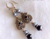 Art Deco Earrings, Dangle Earrings, Repurposed Parts, Blue/Gray Pearls, Black Earrings, Assemblage Jewelry by WinterPearlsDesigns