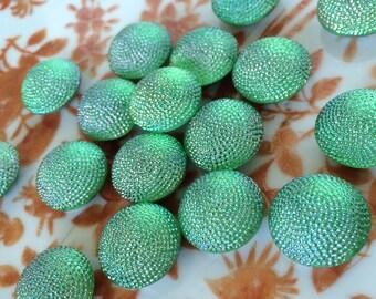 Vintage Green Glass Cabochon, Kelly Green Cabochon, Lumi Green,18mm, 4pcs