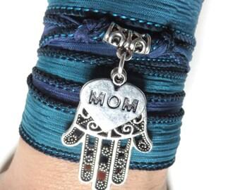 Mother's Day Hamsa Silk Wrap Bracelet Yoga Jewelry Blue Bohemian Jewelry Boho Chic Silk Ribbon Wrap Wrist Band Yoga Mom Unique Birthday Gift