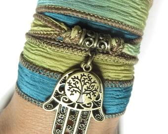 Bohemian Tree Of Life Silk Wrap Bracelet Hamsa Yoga Yewelry Namaste Spiritual  Green Teal Silk Ribbon Bracelet Boho Bracelet Birthday Gift