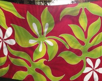 Leaf and tiare abstract batik pareu SUMMER SALE!!