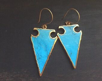 Turquoise Arrowhead,Turquoise Earrings,Turquoise Dangle Earrings,Statement Earrings,Turquoise Earrings,Gold Arrowhead EArrings,Tribal,Boho