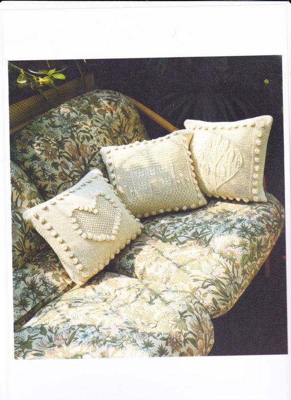 Free Knitting Pattern Cushion Dk : Knitting Pattern pdf - 3 Cushion Covers Pillow Cases Cable Cushion Knitted Cu...