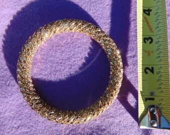 Vintage Gold Tone Mesh Metal Bracelet