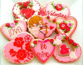 12 Vegan Assorted Valentine Heart Sugar Cookies