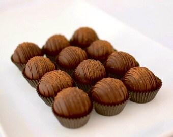 12 Vegan Dark Chocolate Cake Truffles