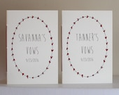 "Personalized Wedding Vow Book Set  - Wedding Vow Booklets - 3.5"" x 5"" Jotter Size"