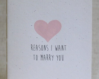Reasons I Want To Marry You Medium Size Booklet With Handpainted Heart On Speckletone