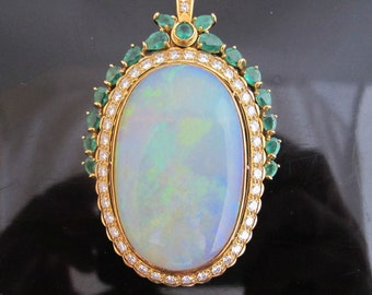 Incredible 18k Gold 57ct Opal Emerald and Diamond Brooch