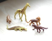 Toy African Animals / Miniatures Rubber Plastic  / Figurine Cake Topper Party Decor / Vintage / Safari / Wild Animals /
