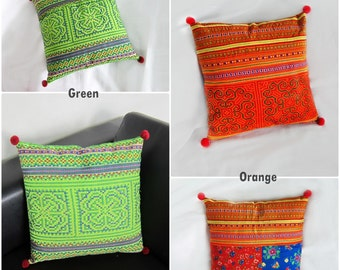 1Pillow Cushion Handmade Exquisite Embroidered, Pillow Cover, Pillowcase Hill tribe Fabric Hmong. (PL1010)