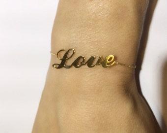 """14k Gold """"Love"""" Bracelet"""