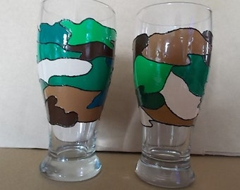 Hand painted Camo Beer Stein Mug - Set of 2 - Now on Sale!