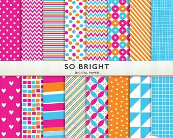 Bright Digital Paper - So Bright - 16 Sheets + Matching Solids - Pink Orange Blue Scrapbooking   Instant Download  G7325