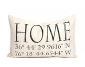 "housewarming gift, longitude latitude pillow, christmas gift, wedding gift, coordinates pillow, gift for her, mother's day gift ""The Home"""