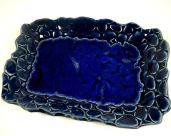 Ceramic Blue Dish,Melted Glass Plate, Beach Stones,Trinket Dish, Jewelry Tray, Recycled Glass Dish, Blue Pottery,Blue Home Decor,Beach Decor