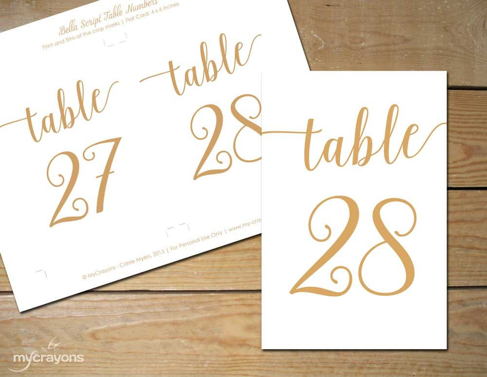 Instant Download Printable Table Numbers 1-30 By
