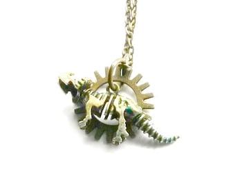 Steampunk Triceratops Necklace gear brass Handmade Gift