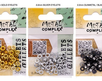 Choice: 2.2mm Gold or Black EYELETS by Metal Complex - 2.2mm eyelets, Leather Eyelets, Grommets, Leather supplies