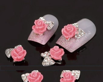 10Pcs Roses Flowers 3D Nails Art  for Tips Stickers Decoration