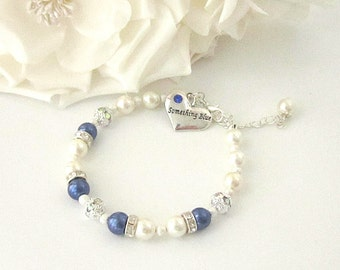 Blue and Ivory Pearl Bracelet, Something Blue, Gift For Bride, Rhinestone Bracelet, Wedding Keepsake, Blue Wedding Charm, Ivory Wedding,