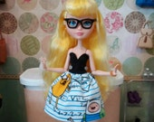 """Blondie's """"Algebraic!"""" Patterned Dress, Made to Fit Ever After High and Monster High Dolls"""