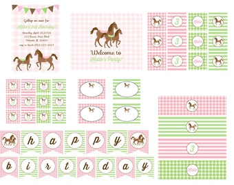 Pink and Green Pony Birthday Party Printable Collection or Choose your Items