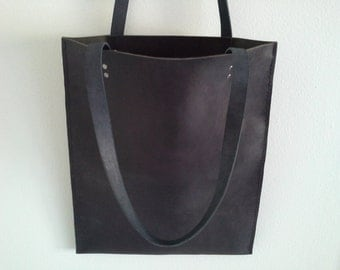 Simple Modern Matte Black Leather Tote Bag - Hand Sewn