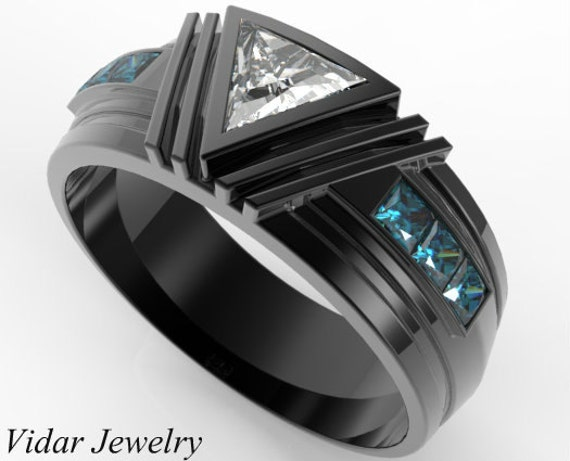 Men s Wedding BandUnique Wedding BandTriangle Diamond