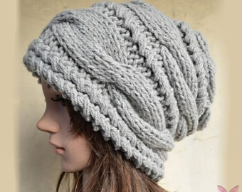 Slouchy cable style beanie hat - GREY - womens chunky - accessories - baggy slouch - Thick and extra warm