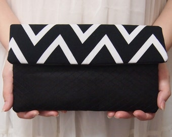 Bridal Bridesmaid Clutch - Clutch - Monogram Print - Unique Wedding Clutch Purse - Black White Clutch - Formal Prom Clutch Bag