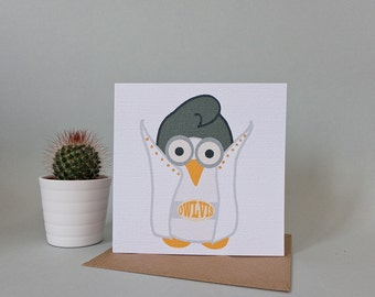 Owlvis greetings card (Elvis)