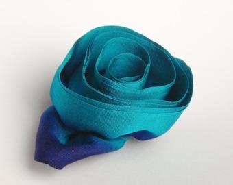 Flower Brooch Queens Turquoise Silk Rosette
