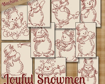 Joyful Snowmen Redwork Machine Embroidery Patterns 2 Sizes Multi-format Designs on CD Shipped Quick .pes .jef .exp .xxx .vip .hus .dst