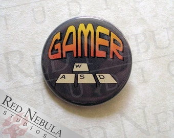 PC Gamer Pinback Button, Magnet, or Keychain, WASD Keys Pin, Video Game Pin, FPS Gamer Button, Computer Game, Video Gamer Pin, Gaming Button