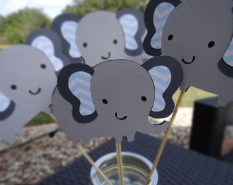 Set of 10 Gray and Blue Elephant Centerpieces