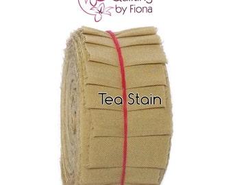 """20 Tea Stain Brown PreCut Honey Bun Fabric Strips, 1.5 inch, 1.5"""" x WOF, die cut"""