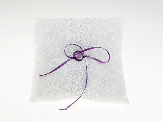 White & Purple Riboon and Lace Wedding Ring Bearer Pillow