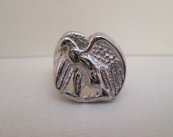 "Eagle Handmade Artisan Silver Signed ""GS 1984"" Ring"