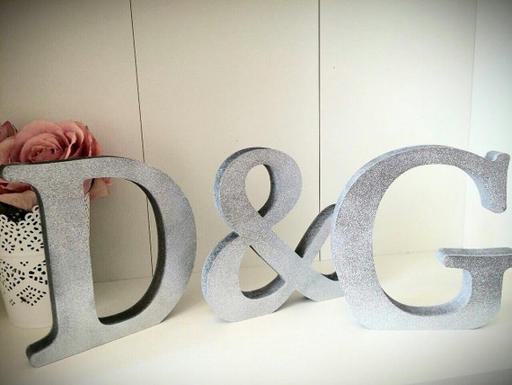 Glitter silver wooden letters personalised initials for Sparkly wooden letters