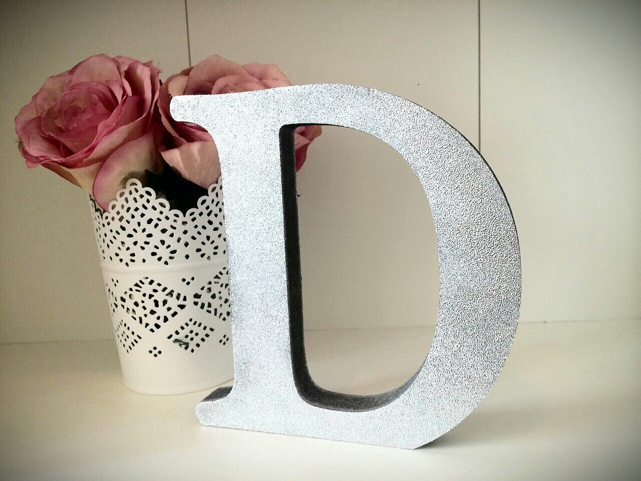 Silver glitter wooden letters free standing for Silver letters freestanding