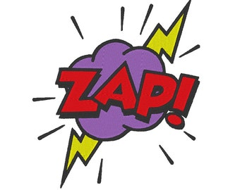 ZAP! Comic Sound Effects Embroidery Machine Design