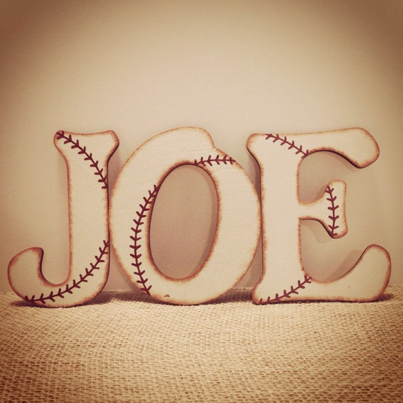 Baseball decor baseball letters baseball by thecrownedlily for Baby room decoration letters