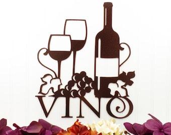 "Vino Metal Sign | Copper Vein | 13""W x 15""H | Laser Cut | Steel | Wine | Vino | Wine Sign | Wine Wall Decor | Wine Decor | Kitchen Decor"