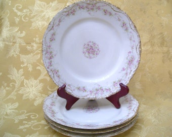 JUST REDUCED!  Theodore Haviland Antique Set of 4 Salad Plates  Limoges France circa 1900