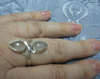 RESERVED FOR ASHAKI - Double Rose Quartz Ring in Sterling Silver Sizes 6 3/4 and 8 3/4