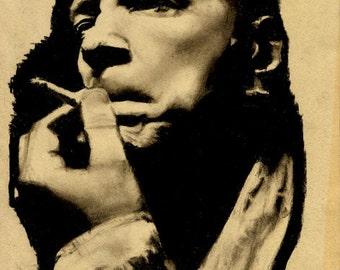 Original A4 charcoal drawing of John Lydon