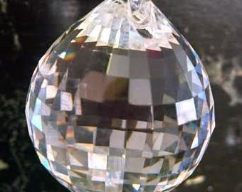 Asfour Full Lead Crystal Clear Faceted Chandelier Disco Ball Prism 40mm
