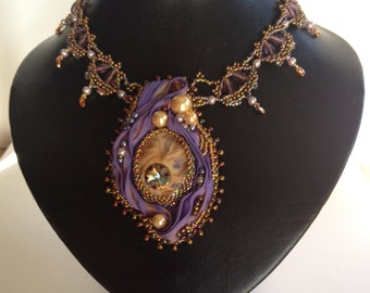 Beaded IndigoTurtleArt Cab Victorian Style Necklace