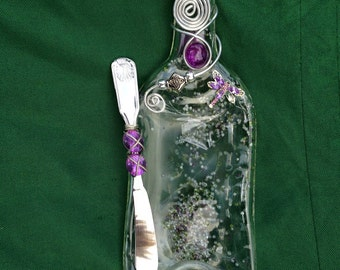 Custom Melted and Flattened Wine Bottle Serving Tray Cheese Board - Hors d'Oeuvre Plate